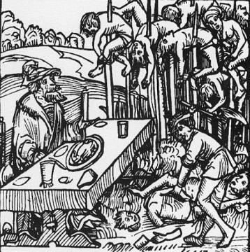"""Vlad III em seu famoso desjejum entre as vítimas de empalamento. Ilustração do século XV: """"O bosque dos empalados"""". Autor desconhecido."""